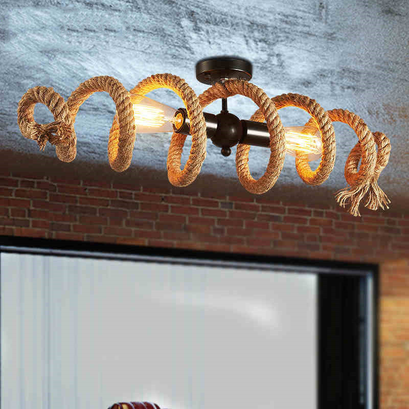 American LOFT Vintage Hemp Rope Pendant Lights E27 Edison Water Pipe LED Ceiling Hanging Lamp Restaurant Coffee Bar Home Decor