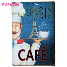 PARIS COFFEE Tin Coffee Sign Retro Decor Poster with Cook chief and Cup for tourist happy hour by Eiffel Tower LJ5-12  20x30cm