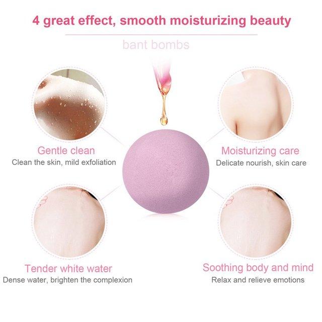 6 pcs Organic Bath Bombs Bubble Bath Salts Homemade Stress Relief Lavender Lemon Peppermint Chamomile Milk Jasmine Flavors 1