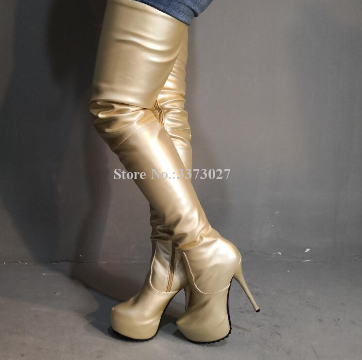 US $98.66 23% OFF|Gold Color Platform Long Boots Woman New Arrival Fashion Leather Thin Heel Thigh High Boots Ladies Large Size Over the Knee Boot in