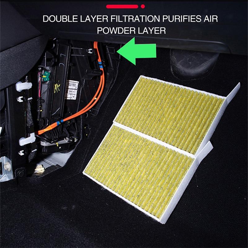 2Pcs Car Air Filter For Tesla Model 3 Y 2019-2021 Accessories Activated Carbon For Tesla Model Three Model3 9.4 * 5.4 Inches