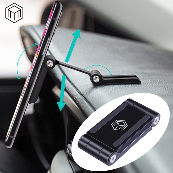 Metal Magnetic Double Damping Adjustable Folding Car Phone Holder