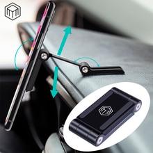 Soporte de teléfono plegable ajustable de doble amortiguación magnética de Metal para coche
