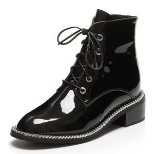 Image 2 - FEDONAS Women Genuine Cow Patent Leather Ankle Boots Winter Short Boots for Women Big Size Riding Boots Night Club Shoes Woman