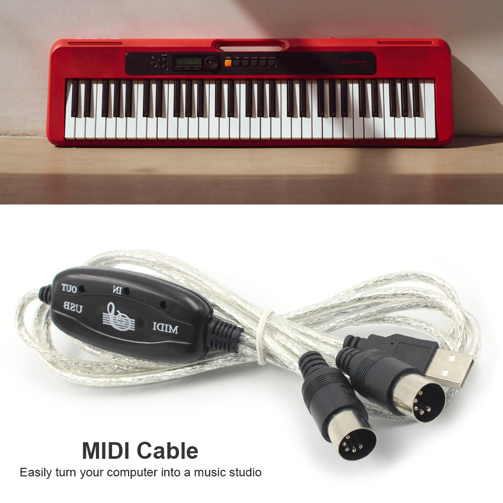 USB IN-OUT MIDI Adapter Cable Set Keyboard Converter Cord PC to Music Electronic Lightweight Portable Music Elements