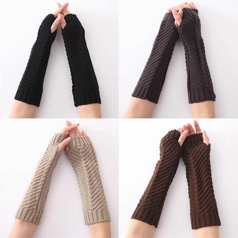 1 Pair Autumn Winter Women Knit Gloves Arm Wrist Sleeve Hand Warmer Girls Rhombus Long Half Mittens Winter Fingerless Gloves