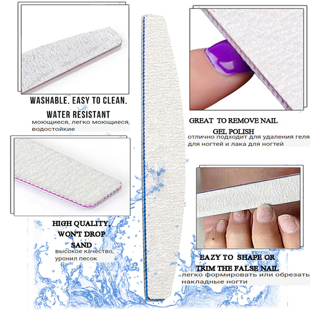5Pcs/Lot Nail File 100/180 Sanding Buffer Block Pedicure Manicure Buffing Polish PP Or Wood Professional Files Tool Grey Boat 4