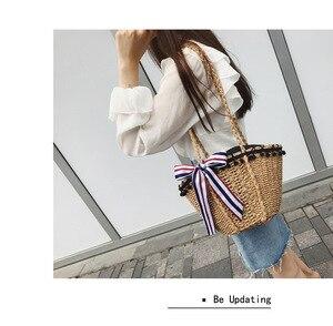 Image 3 - New straw wrapped scarf decoration black beads Hawaiian style single shoulder slanting lady bag