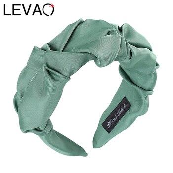 LEVAO-Diadema de Color sólido plisado con bisel satinado para mujer, bandanas de tamaño ancho, accesorios para niña, aro de pelo, joyería