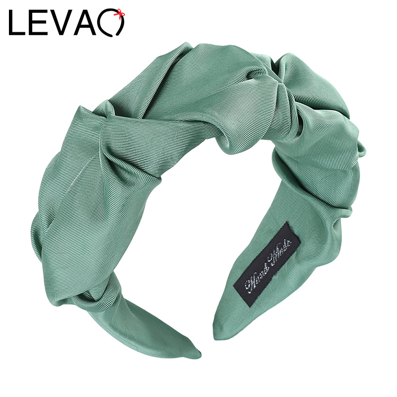 LEVAO Pleated Solid Color Headband Satin Bezel New Turban For Women Wide Size Hairbands Girls Accessories Hair Hoop Hair Jewelry