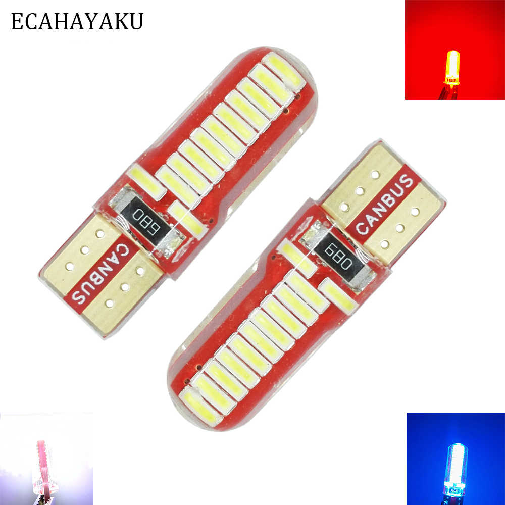 ECAHAYAKU 2PCS 2W 12V Auto W5W LED T10 Canbus 24 Led Lamp for Car Front Side Marker Door Courtesy License Plate LED Light Bulbs
