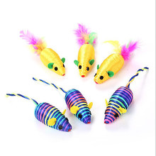 Mouse Toys Silk Yarn False Mouse Cat Toys Colorful Feather Lovely Chew Cat Funny Playing Mouse Toys(China)