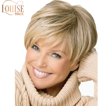 Krótkie grube faliste blond podkreśla pełna peruka peruki damskie blond krótkie kobiece strzyżenie puffy prosto pelucas pelo