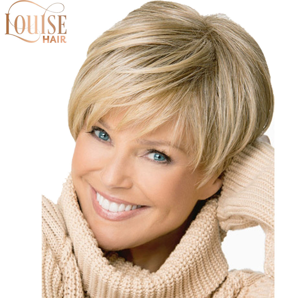 Short Thick Wavy Blonde Highlights Full  Wig Women's Wigs Blonde Short Female Haircut Puffy Straight Pelucas Pelo