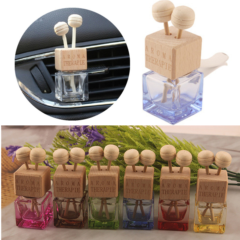 Multi-Colored Car Vent Outlet Perfume Clip Auto Air Freshener Empty Glass Bottle Fragrance Ornament for Automobile Accessories