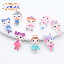 30Pcs/lots 3D Cabochons Magic Baby Resin Craft Kawaii Colorful Planar Girls Cool Doll Flatback Stone Appliques Accessories