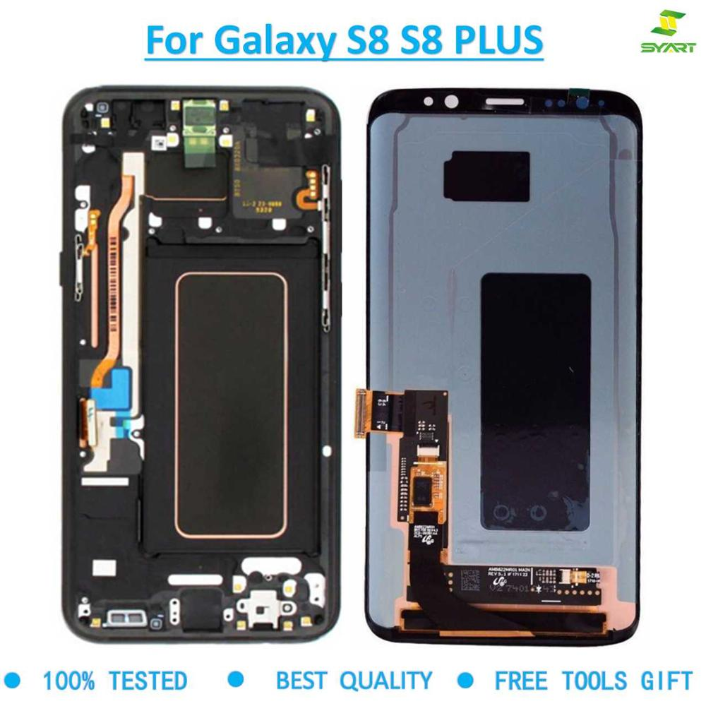Neue Super Amoled Display <font><b>Screen</b></font> Für <font><b>SAMSUNG</b></font> <font><b>Galaxy</b></font> <font><b>S8</b></font> <font><b>S8</b></font> plus Bildschirm Ersatz LCD Touch Digitizer Montage G950F G955F Rahmen image