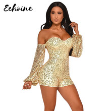 Autumn Women Off Shoulder V-Neck Backless Sequined Bodycon Skinny Short Jumpsuits Seliver Sexy Club Night Party Rompers Playsuit(China)