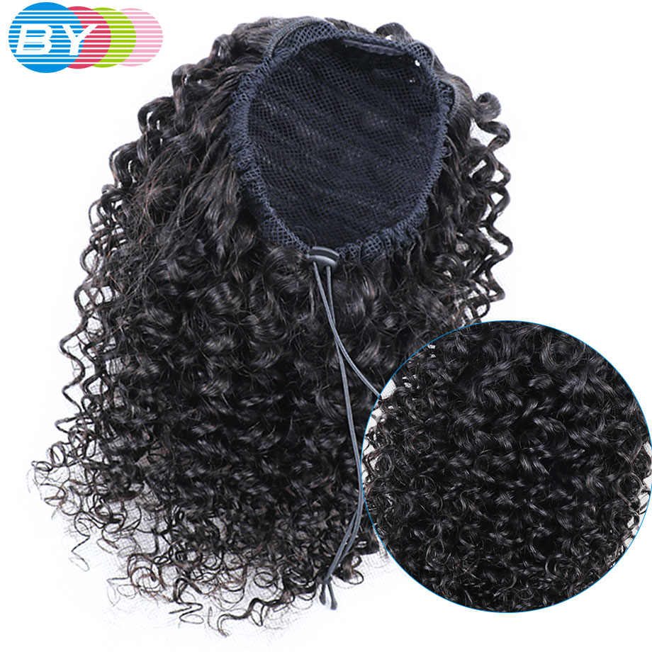 BY Kinky Curly Drawstring Ponytail Pony Tail Human Hair Extension Clip Kinky Ponytail Human Hair Brazilian Remy Hair Afro Puff