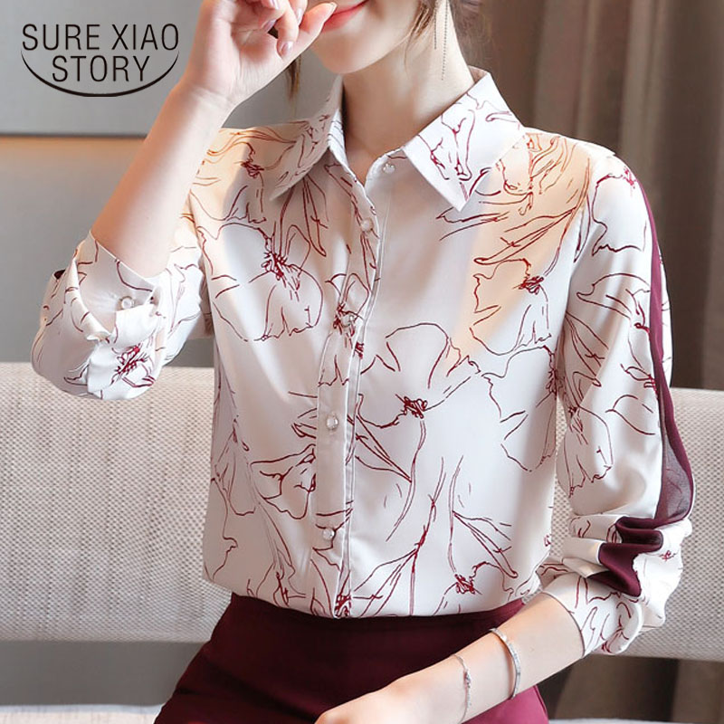 Women Shirt New Classic Chiffon Blouse Female Elegant Print Loose Long Sleeve Shirts Lady Simple Style Tops Clothes Blusas <font><b>10881</b></font> image
