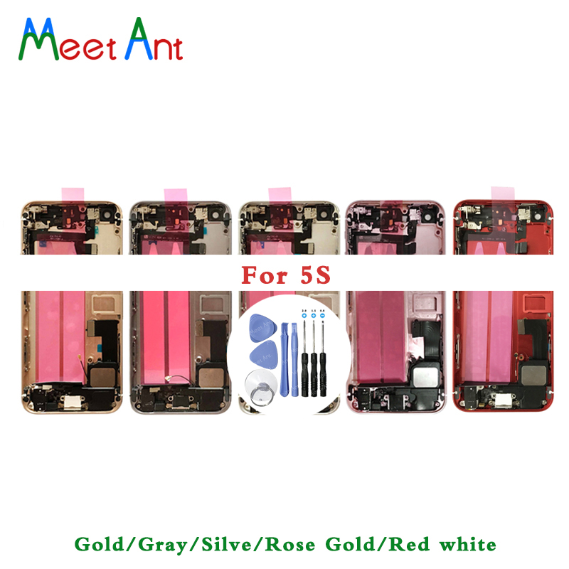 AAA For Iphone 5 5G / 5S / SE Back Middle Frame Chassis Full Housing Assembly Battery Cover Door Rear With Flex Cable + Tool