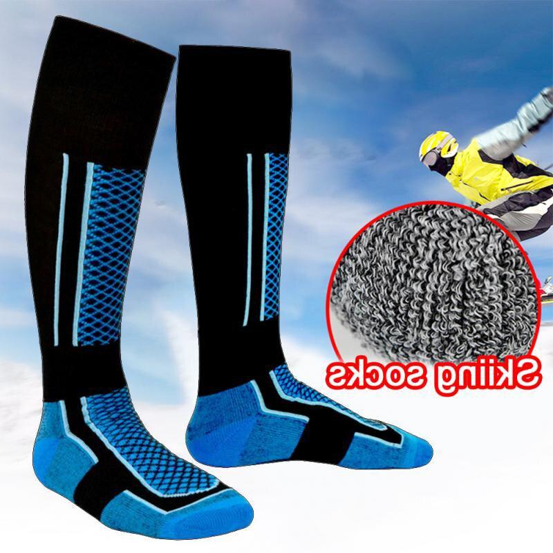 Горячие Зимние теплые мужские и женские теплые длинные Лыжные носки, толстые хлопковые мягкие носки для занятий спортом на открытом воздух...