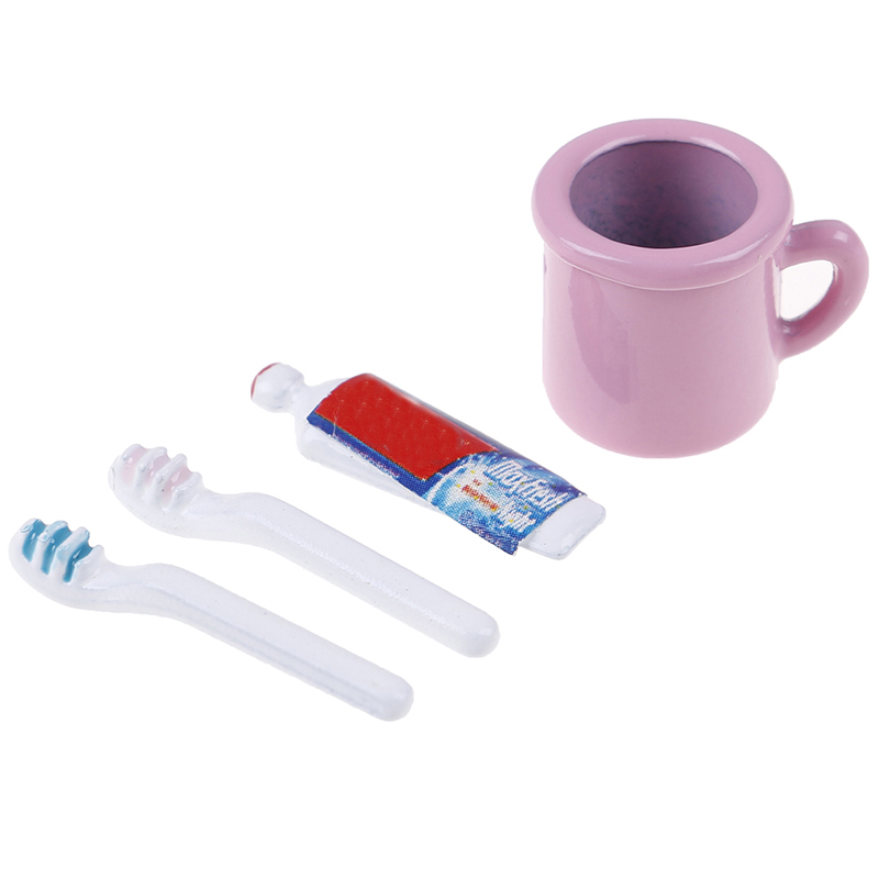Image 4 - New 1/12 Dollhouse Miniature Comb Hair Dryer Toothpaste Toothbrush Bathtub for Dolls Bathroom Accessories-in Furniture Toys from Toys & Hobbies