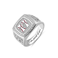 AILIN 925  Silver Men Ring Signet Vintage Rings for Baseball Textured Number Birthstone with Engraving