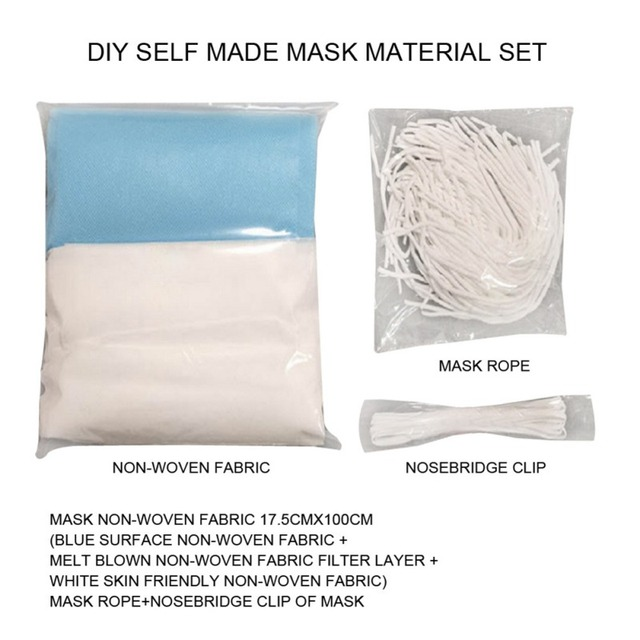 ·DIY Mask Set Non-woven Fabric Homemade Respiratory Filter Mask Dust-proof Bacteria Proof Flu Face Masks Care* 1