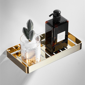 LIUYUE Gold 304 Stainless Steel Wall Mounted Bathroom Storage Container Square Shower Soap Dish Holder bathroom hardware
