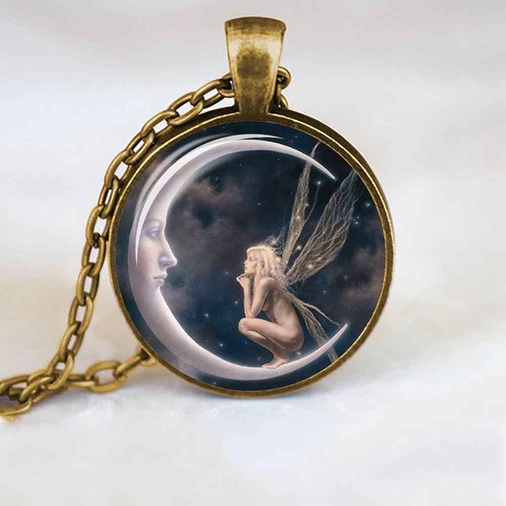 Delle Donne di modo Della Collana di Angelo sulla Luna di Arte Foto Rotondo Cabochon di Vetro della Collana Della Catena di Fascino della Donna accessori