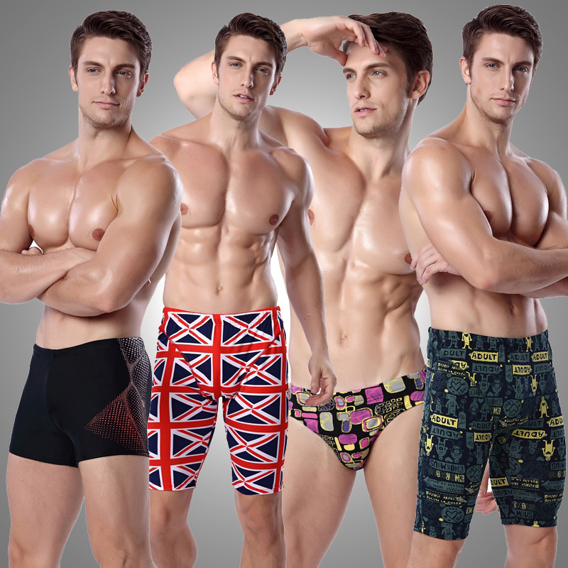 New Style Fashion Floral Swimming Trunks Plus-sized Menswear Europe And America Triangular Boxer Short Swimming Trunks Swimsuit