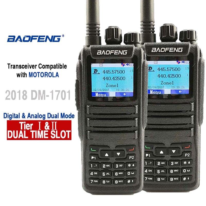 band digital 2pcs Baofeng DM-1701 Digital Analog Walkie Talkie Dual Band Dual Time Slot DMR Radio Station Radio Comunicador Profiss Uniden (1)