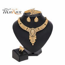African Luxury Nigerian Wedding African Jewelry Set Dubai Gold Necklace Bracelet Earring Ring for Women Party Jewelry Sets(China)
