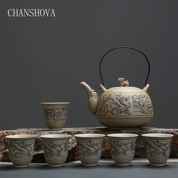 CHANSHOVA Chinese Retro Engraving Process Pottery Teaware Set High-capacity Ceramic Tea Pot Set Home Decoration Accessories H152