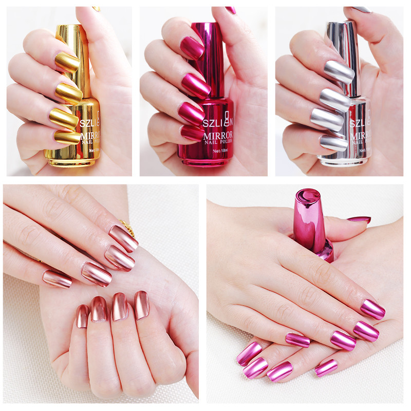 18ml Mirror Effect Metallic Nail Polish Chrome Art Varnish For Nails Manicure Lacquer  Magic