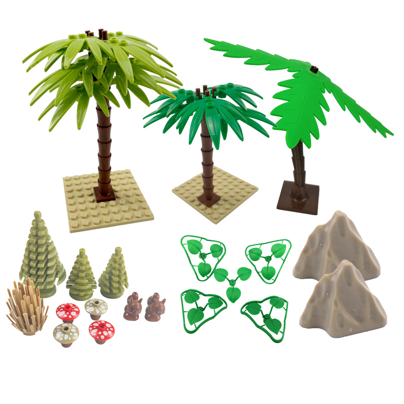 City Accessories Leaf Grass Kids Gifts Fake Mountain Flower Pine Plant Tree Toys For Children Bamboo Cities Building Blocks