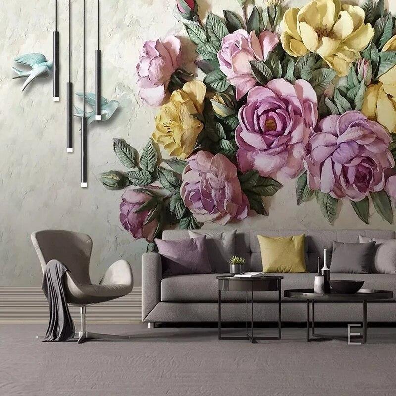 Самоклеящиеся обои 3D в Европейском стиле, настенные водонепроницаемые украшения для гостиной, телевизора, спальни, дома, с цветами, птицами