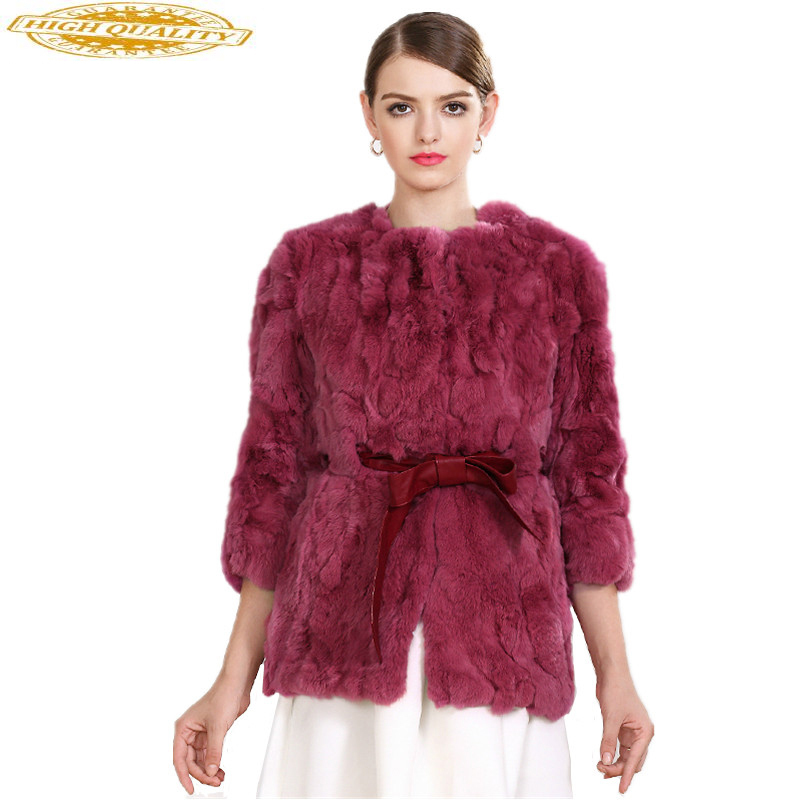 2020 New Autumn And Winter Natural Rex Rabbit Fur Coats Women O-Neck Long Slim Real Fur Coat Female Outerwear YS2814004