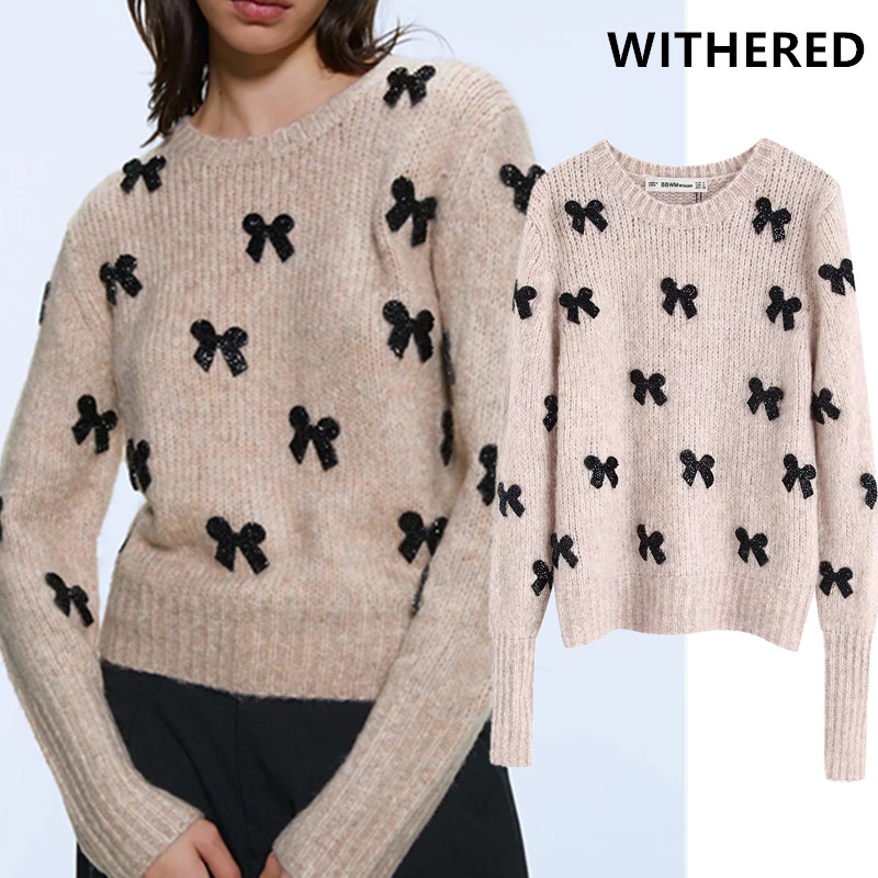 Withered 2019 Winter Sweaters Women Pull Femme England Style Elegant Sequins Bow Knitting O-neck Sweaters Women Pullovers Tops
