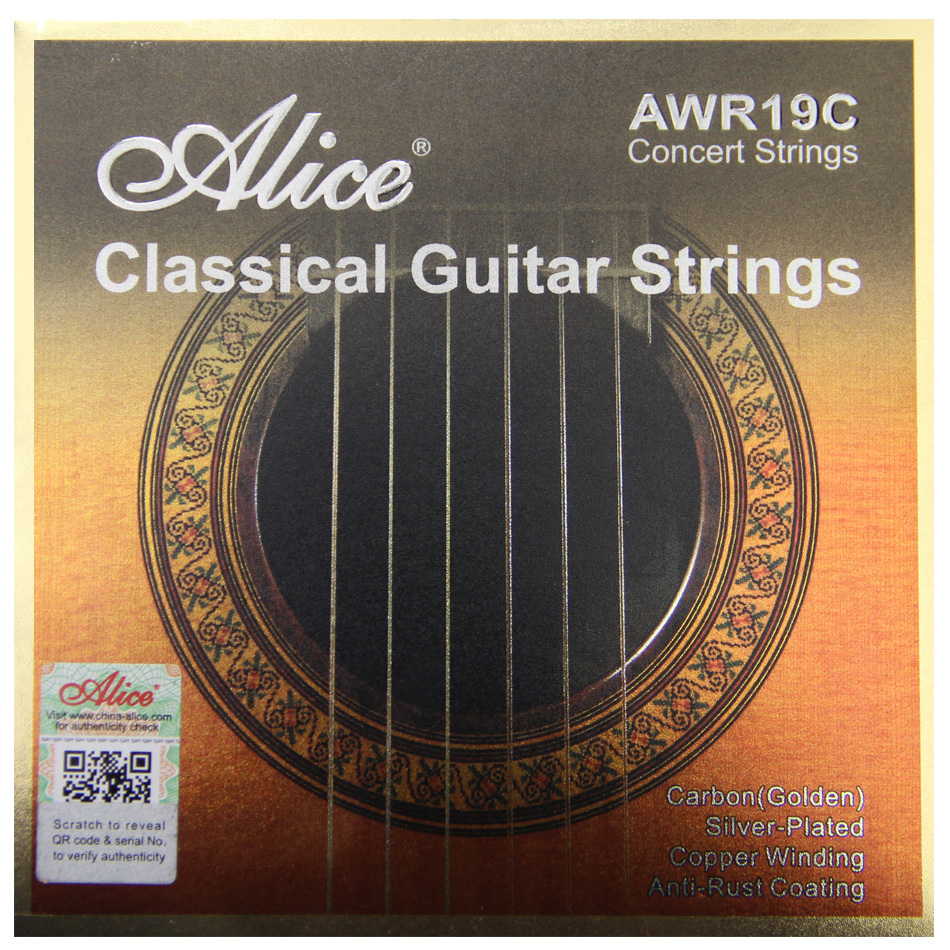 Acessórios de guitarra alice awr19c conjunto de cordas de guitarra clássica, ti-cor de ouro carbono, prata chapeado cobre enrolamento