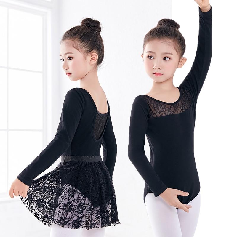 Hot Selling Long Sleeve Black Dance Leotard Lace Skirt Suit Girls Kids Children Ballet Gymnastics Leotard
