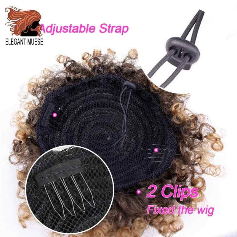 Elegante MUSES suave Cola de Caballo alto Puff Afro pelo bollo corto sintético Afro rizado cordón Clip en Chignon