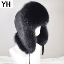 Men Outdoor Winter Natural Real Fox Fur Bombers Hats Warm Soft Quality Real Raccoon Fur Cap Luxury Real Sheepskin Leather Hat cheap doakxol Adult Solid Bomber Hats YH-9223 100 natural real sheepskin leather 100 natural real fox fur Adjustable fit for everyone