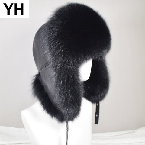 Men Outdoor Winter Natural Real Fox Fur Bombers Hats Warm Soft Quality Real Raccoon Fur Cap Luxury Real Sheepskin Leather Hat Pakistan