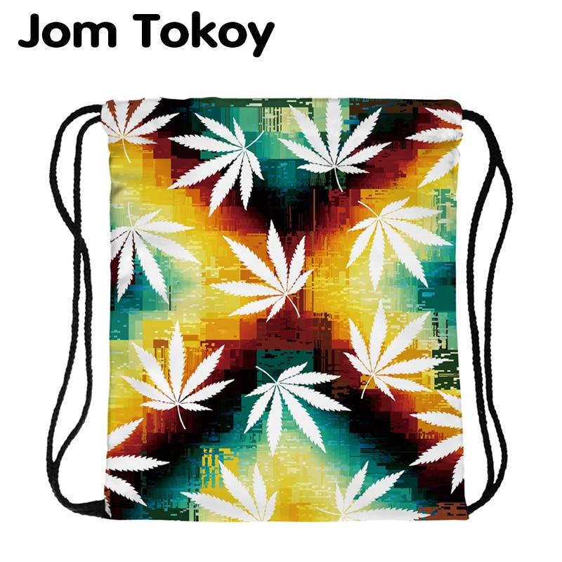 JomTokoy New Fashion Women Drawstring Backpack Tree Leaf Printing Travel Softback Women Mochila Drawstring Bags Skd29073