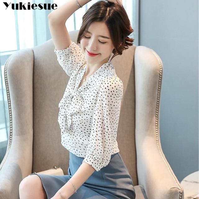 chiffon dot blouse femme shirt women blusas shirts 2019 summer long sleeve elegant ladies top womens blouses and tops Plus size 6