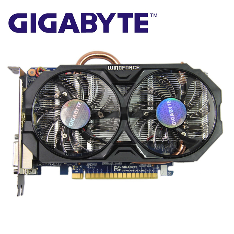 Оригинальная графическая карта GIGABYTE, графический процессор 128 бит GDDR5 GTX750TI GTX 750, видеокарта для nVIDIA Geforc, бывшая в употреблении видеокарта