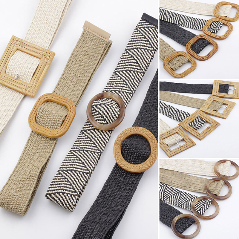 Wax Rope Braiding Women Belt Round Square Buckle Skirt Belt Vintage Knitted Waist Belt Hand-Woven Elastic Belt For Women 2019