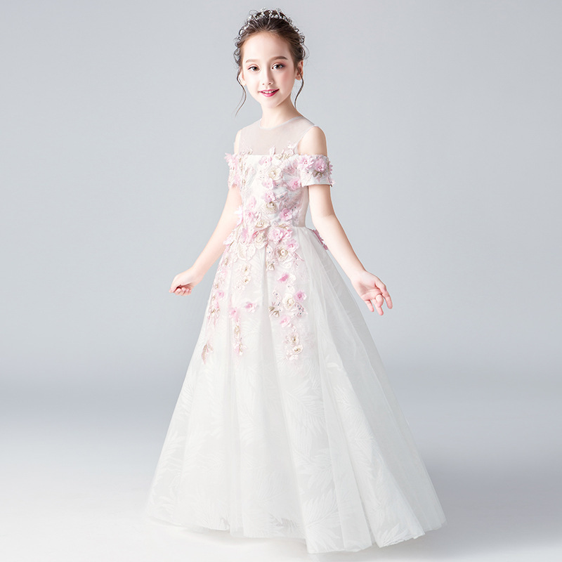 Mingli Tengda Children   Flower     Girl     Dresses   For Party forml   Dress   O Neck Party Child   Dress   Pink Lace Short Sleeve Comunion